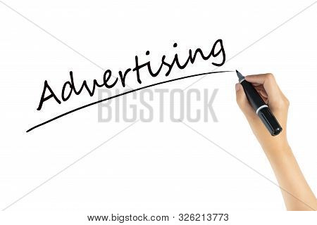 Hand Writing Word Advertising With Black Color Marker Pen Isolated On White Background. Space Of Adv