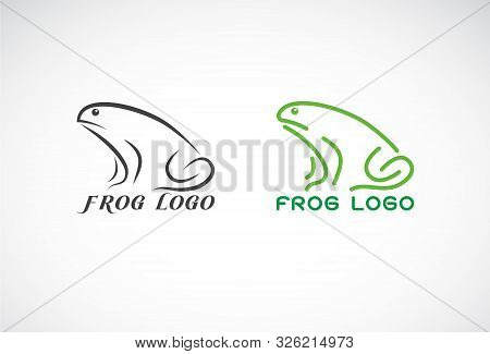 Vector Of Green Frogs And Black Frog On White Background. Amphibian. Animal. Frog Logo Or Icon. Easy