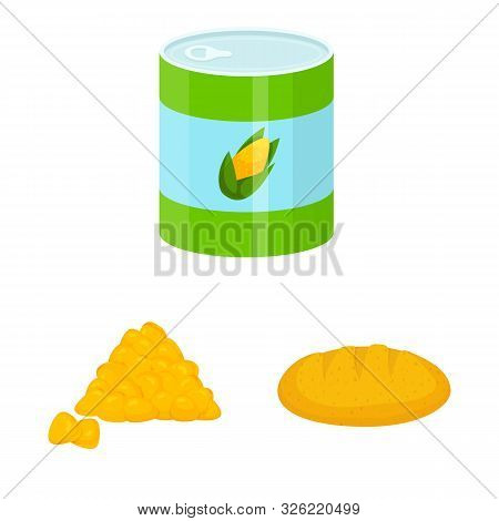 Isolated Object Of Maize And Food Sign. Set Of Maize And Crop Stock Vector Illustration.