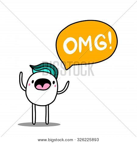 Omg Hand Drawn Vector Illustration In Cartoon Comic Style Man Shouting