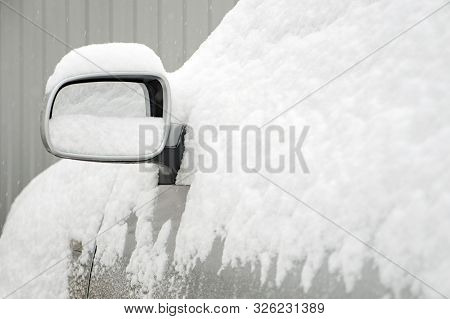 Car In Snow. Traffic Jams. Bad Weather Conditions For Drivers. Safety Driving In Winter. Freezing, F