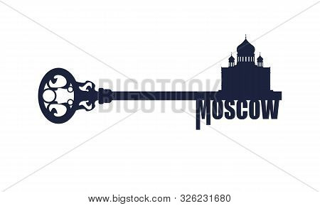 Cathedral Of Christ The Savior In Moscow. Flat Design Style Modern Illustration Concept Of A Key Of