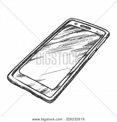 Smartphone Cellular Call Technology Retro Vector. Smartphone With Lcd Touchpad Screen. Mobile Phone