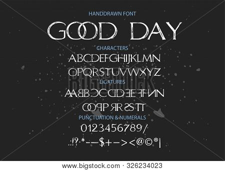 Hand Drawn Calligraphic Vector Duo Font. Distress Grunge Texture. Modern Script Calligraphy Type Pai