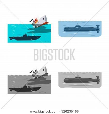 Vector Illustration Of War And Ship Symbol. Set Of War And Fleet Stock Vector Illustration.
