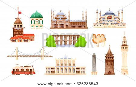 Turkey Country Buildings Landmarks. Travel Concept For Asi