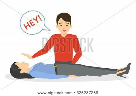 Fainting First Aid. Emergency Situation, Unconscious Person