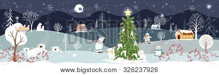 Panoramic Of Winter Landscape,vector Of Horizontal Banner Of Winter Wonderland At Countryside With P