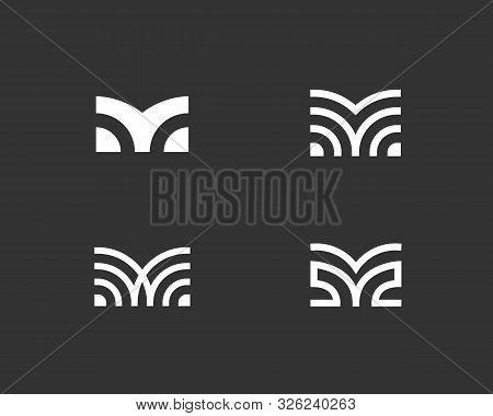 Set Of Letter M Linear Logo Icon Design Modern Minimal Style Illustration. Set Alphabet Vector Emble