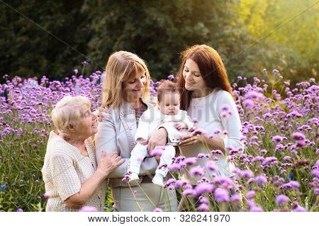 Grandmother, Mother And Kids. Family Generations.