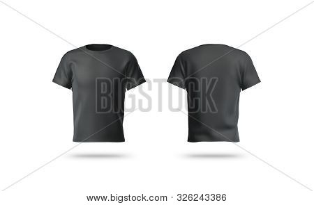 Blank Black Clean T-shirt Mockup, Isolated, Front And Back View, 3d Rendering. Empty Gray Undervest
