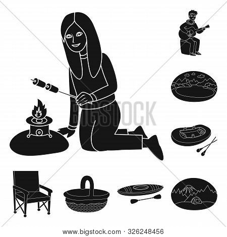 Vector Illustration Of Barbeque And Rest Symbol. Set Of Barbeque And Nature Stock Symbol For Web.