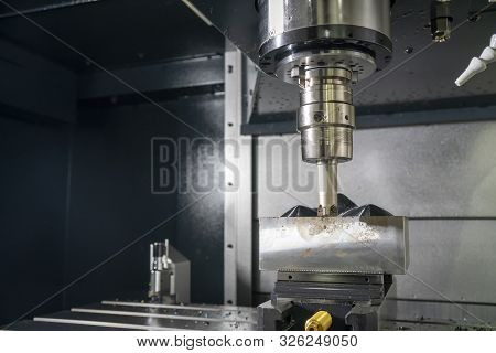The Cnc Milling Machine Rough Cutting The Mould Parts With The Indexable Radius Endmill Tools. The M