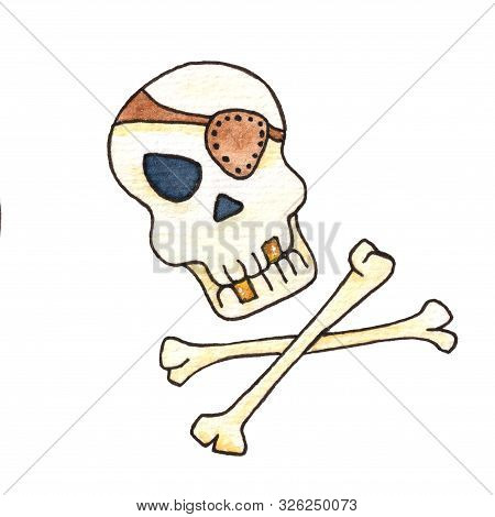 Jolly Roger With Eyepatch Logo Template.evil Skull Watercolor Illustration. Pirate Insignia Concept.