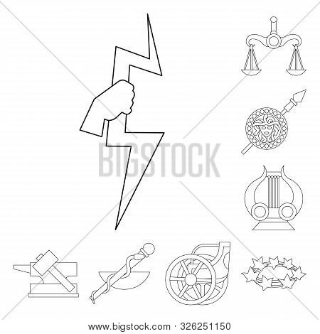 Isolated Object Of Mythology And God Sign. Collection Of Mythology And Culture Stock Vector Illustra