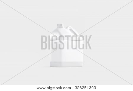 Blank White Plastic Canister Mock Up Stand Isolated, 3d Rendering. Empty Jug For Chemical Liquid Moc