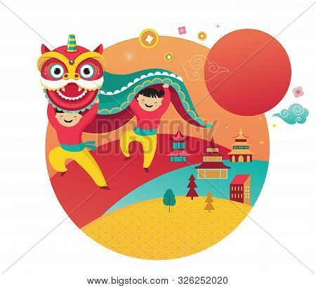 Happy Chinese New Year Design 2020. Dancing Dragon, Flowers And Money Elements. Vector Illustration