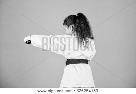 Self Defence Skills. Karate Gives Feeling Of Confidence. Strong And Confident Kid. She Is Dangerous.