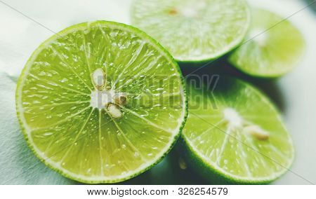 Fresh Ripe Green Limes As Background, Lime Background. Close Up Shot Of Limes. Selective Focus Of Sl