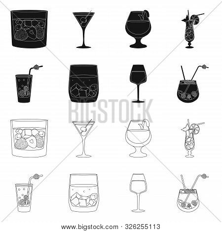 Isolated Object Of Liquor And Restaurant Symbol. Collection Of Liquor And Ingredient Vector Icon For