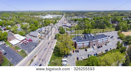 Aerial View Panorama Of Millis Town Hall On Main Street At The Town Center Of Millis In Boston Metro