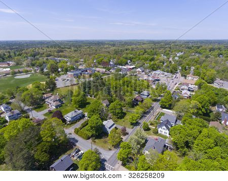 Aerial View Of Millis Historic Town Center And Main Street In Spring, Millis, Boston Metro West Area