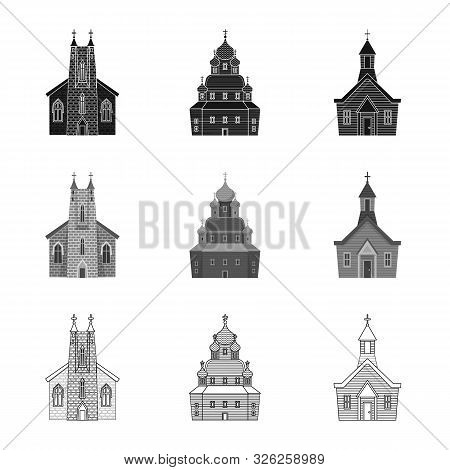 Vector Illustration Of Cult And Temple Sign. Set Of Cult And Parish Vector Icon For Stock.