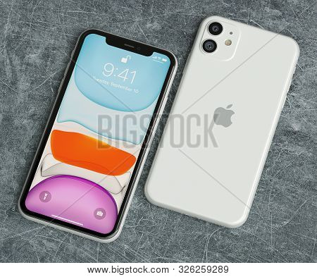 Italy -22 September, 2019: Iphone 11 Smartphones On Table. Iphone 11 In Close Up. Latest Apple Mobil