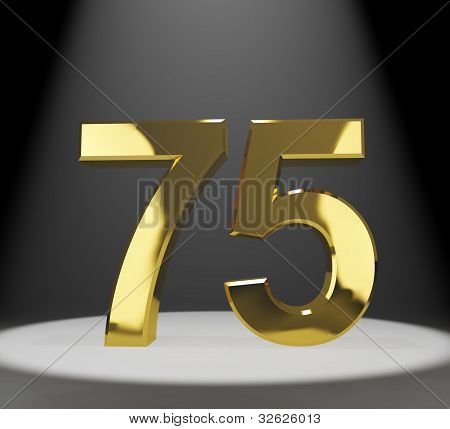 Gold 75th Or Seventy Five 3d Number Closeup Representing Anniversary Or Birthdays