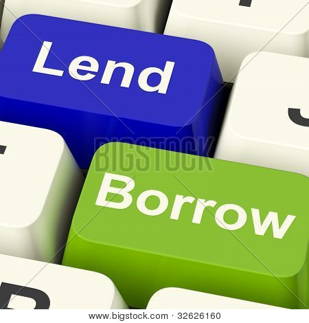 Lend And Borrow Keys Showing Borrowing Or Lending On The Internet