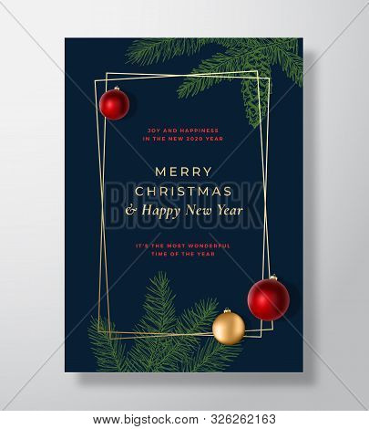 Merry Christmas Abstract Vector Greeting Card, Poster Or Holiday Background. Blue And Gold Colors An