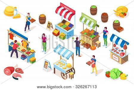 Flea Market Counters Or Bazaar Stall, Marketplace Showcase With Canopy, Street Shop Or Grocery Store