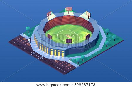 Night View On Cricket Stadium Or Isometric Building For Cricketer Sport Events. Illuminated Arena Wi