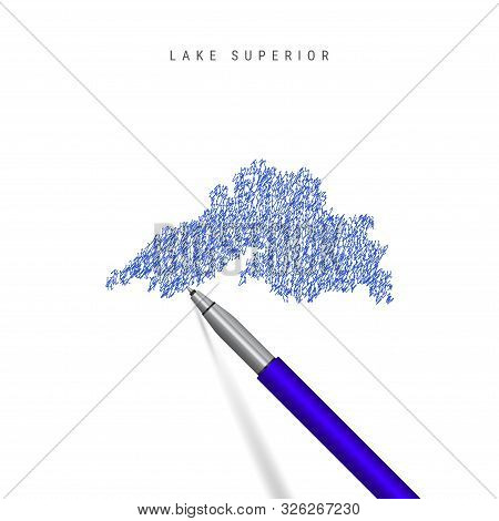 Lake Superior, One Of The Great Lakes Sketch Scribble Map Isolated On White Background. Hand Drawn V