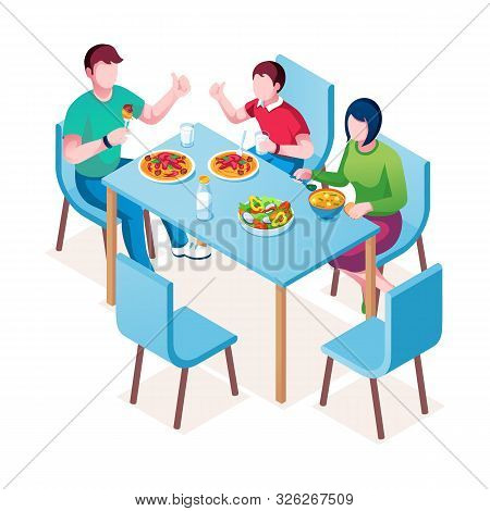 Family Enjoying Meal At Table. Mother, Father And Child At Dinner Or Lunch, Supper Or Breakfast. Man