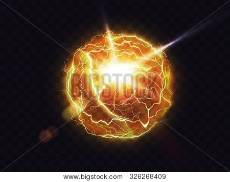Electric Ball, Lightning Fireball, Strike Impact Place, Plasma Sphere In Yellow Color Isolated On Da