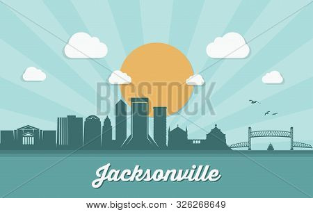 Jacksonville Skyline, Florida - Vector Illustration - Vector