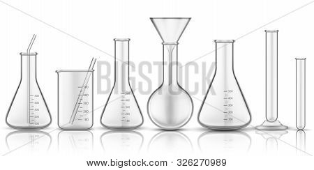 Glassware Beaker Or Measuring Glass. Set Of Isolated Chemistry Flask Or Biology Test-tube, Science T