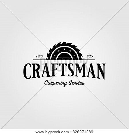 Grinding Craftsman Carpentry Vintage Retro Logo Design Illustration