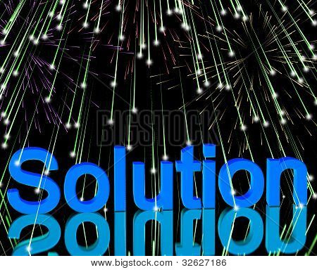 Solution Word With Fireworks Shows Success Acheivement And Strategies