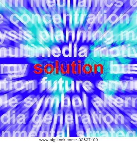 Solution Word Showing Success Acheivement And Strategy