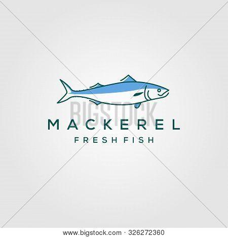 Line Art Fish Mackerel Logo Hipster Vintage Label Emblem Vector Seafood Illustration