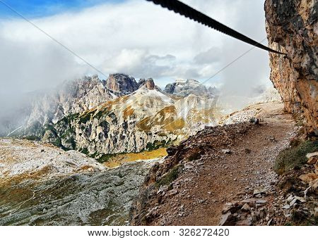 Via Ferrata, Mountain Trail. Dolomites, Italy Alps