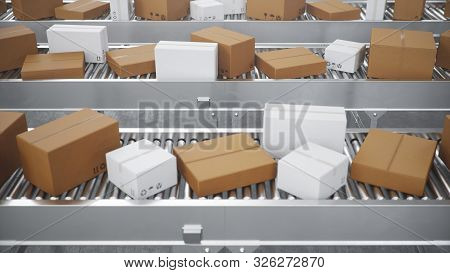 3d Illustration Packages Delivery, Packaging Service And Parcels Transportation System Concept, Card