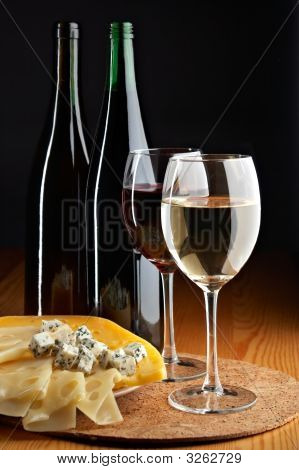 Still Life With Cheese, Red And White Wines
