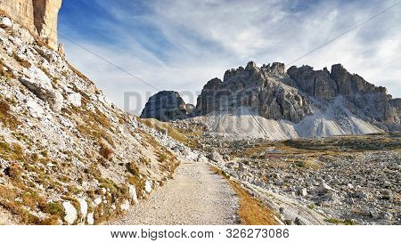 Mountain Footpath In The Italian Dolomites. Beautiful Mountains