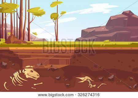 Archaeological Excavations, Cartoon Vector Illustration. Natural Landscape With Trees, Mountains, Gr