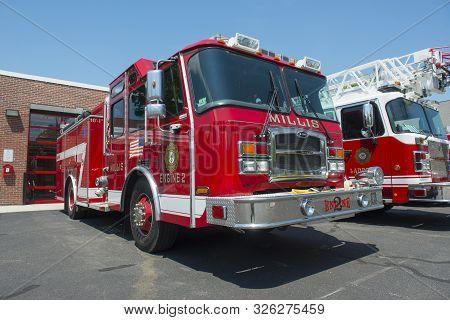 Millis, Ma, Usa - May 10, 2018: Fire Trucks In Fire Department In Millis, Massachusetts, Usa.