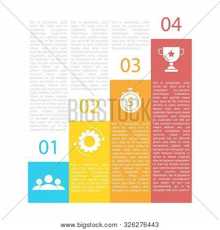 Business Infographics For Presentation, Chart Or Diagram. Template With 4 Elements, Steps, Options,