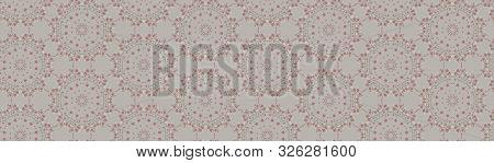 Hand Drawn Kaleidoscope Wagara Damask Seamless Border Pattern. Modern Japanese Motif, Hand Drawn In